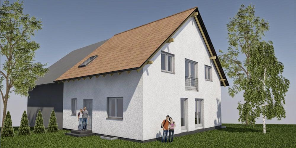 Neubau eines Einfamilienhauses als Doppelhaushälfte